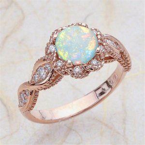 *NEW Rose Gold Round Opal Diamond Halo Twist Ring